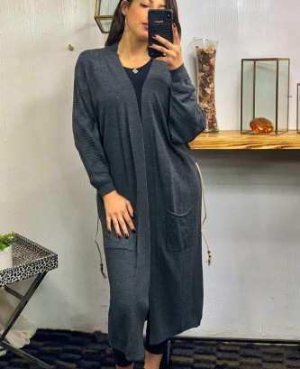 ROBE CHEMISE A NOEUD - Gris